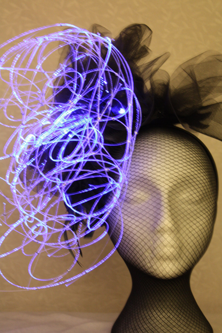 Blue Brain Fascinator, with LED light source and fiber optics sculpture